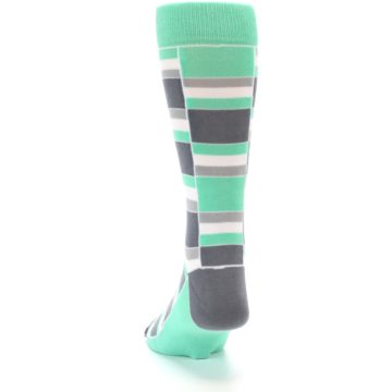 Image of Green Grey Stacked Men's Dress Socks (back-17)