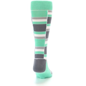Image of Green Grey Stacked Men's Dress Socks (back-19)