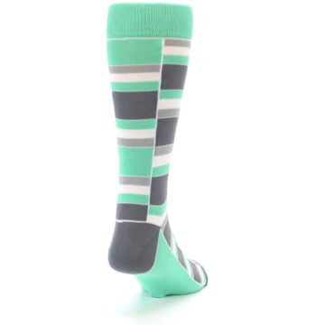 Image of Green Grey Stacked Men's Dress Socks (side-1-back-20)