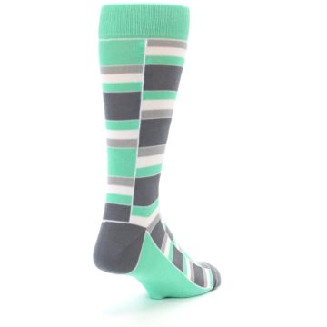 Image of Green Grey Stacked Men's Dress Socks (side-1-back-21)