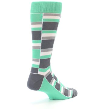 Image of Green Grey Stacked Men's Dress Socks (side-1-back-22)