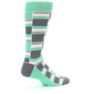 Image of Green Grey Stacked Men's Dress Socks (side-1-23)
