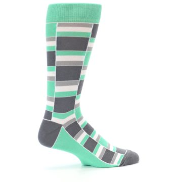 Image of Green Grey Stacked Men's Dress Socks (side-1-24)