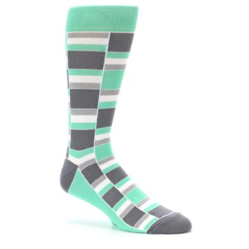 Image of Green Grey Stacked Men's Dress Socks (side-1-26)