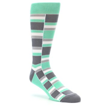 Image of Green Grey Stacked Men's Dress Socks (side-1-27)