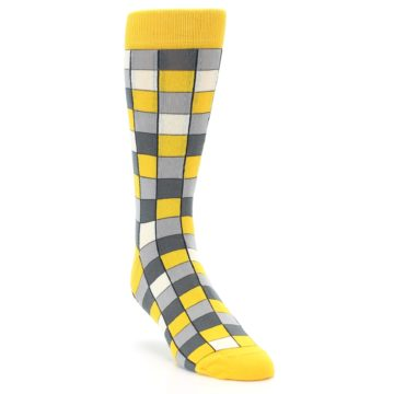 Image of Yellow Grey Checkered Men's Dress Socks (side-1-front-02)