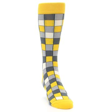 Image of Yellow Grey Checkered Men's Dress Socks (side-1-front-03)