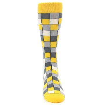 Image of Yellow Grey Checkered Men's Dress Socks (front-04)