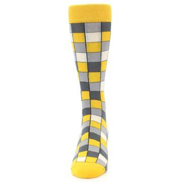Image of Yellow Grey Checkered Men's Dress Socks (front-05)