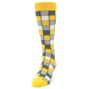 Image of Yellow Grey Checkered Men's Dress Socks (side-2-front-06)