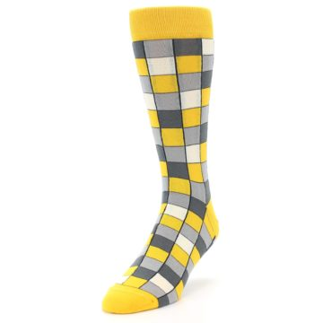 Image of Yellow Grey Checkered Men's Dress Socks (side-2-front-07)