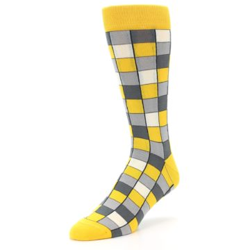 Image of Yellow Grey Checkered Men's Dress Socks (side-2-front-08)