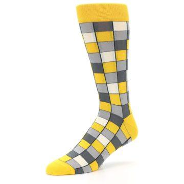 Image of Yellow Grey Checkered Men's Dress Socks (side-2-09)