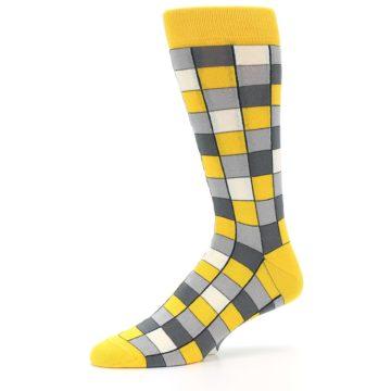 Image of Yellow Grey Checkered Men's Dress Socks (side-2-10)