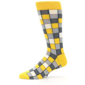 Image of Yellow Grey Checkered Men's Dress Socks (side-2-11)
