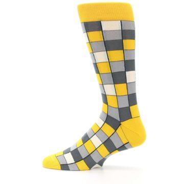 Image of Yellow Grey Checkered Men's Dress Socks (side-2-12)