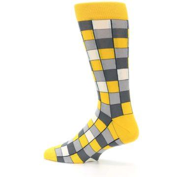 Image of Yellow Grey Checkered Men's Dress Socks (side-2-13)