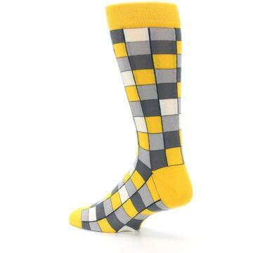 Image of Yellow Grey Checkered Men's Dress Socks (side-2-back-14)