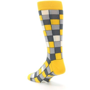 Image of Yellow Grey Checkered Men's Dress Socks (side-2-back-15)