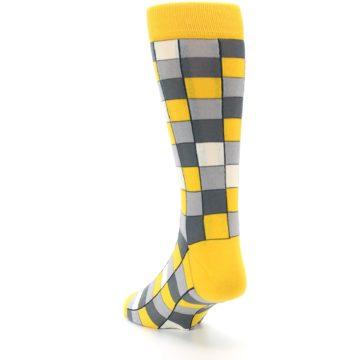 Image of Yellow Grey Checkered Men's Dress Socks (side-2-back-16)