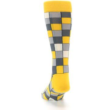 Image of Yellow Grey Checkered Men's Dress Socks (back-17)