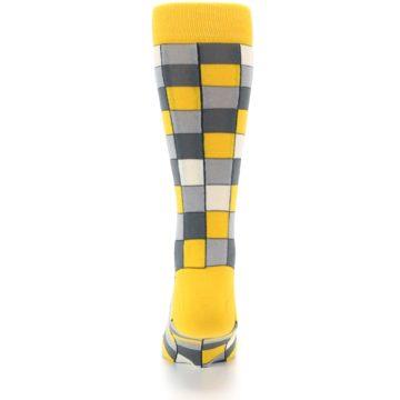 Image of Yellow Grey Checkered Men's Dress Socks (back-18)