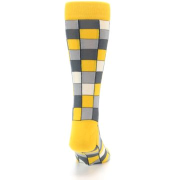 Image of Yellow Grey Checkered Men's Dress Socks (back-19)