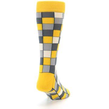 Image of Yellow Grey Checkered Men's Dress Socks (side-1-back-20)