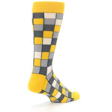 Image of Yellow Grey Checkered Men's Dress Socks (side-1-back-22)