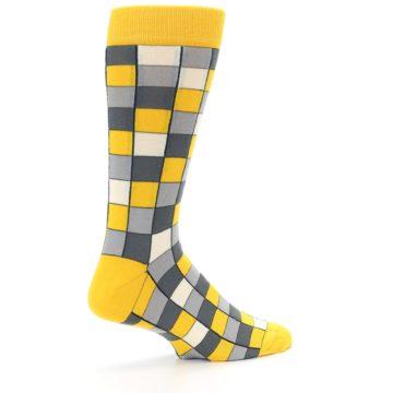 Image of Yellow Grey Checkered Men's Dress Socks (side-1-23)