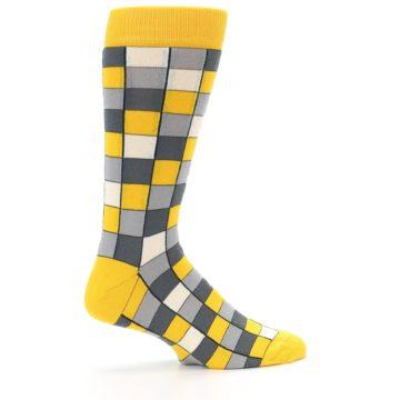 Image of Yellow Grey Checkered Men's Dress Socks (side-1-24)