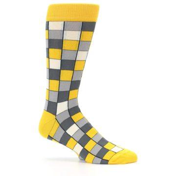 Image of Yellow Grey Checkered Men's Dress Socks (side-1-25)
