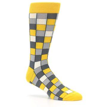 Image of Yellow Grey Checkered Men's Dress Socks (side-1-26)
