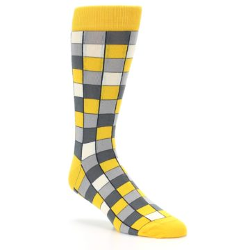 Image of Yellow Grey Checkered Men's Dress Socks (side-1-27)