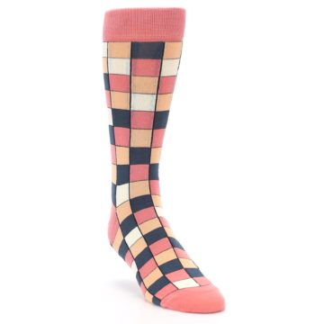 Image of Coral Peach Checkered Men's Dress Socks (side-1-front-02)