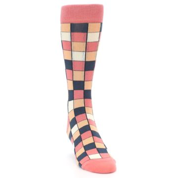 Image of Coral Peach Checkered Men's Dress Socks (side-1-front-03)