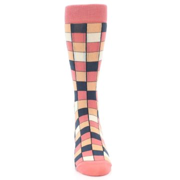 Image of Coral Peach Checkered Men's Dress Socks (front-04)