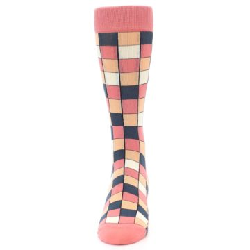 Image of Coral Peach Checkered Men's Dress Socks (front-05)