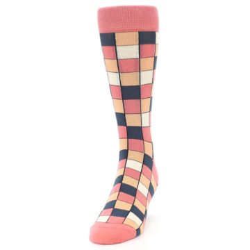 Image of Coral Peach Checkered Men's Dress Socks (side-2-front-06)