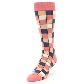 Image of Coral Peach Checkered Men's Dress Socks (side-2-front-07)