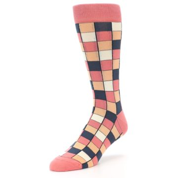Image of Coral Peach Checkered Men's Dress Socks (side-2-front-08)