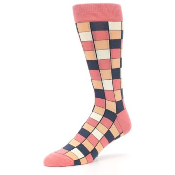 Image of Coral Peach Checkered Men's Dress Socks (side-2-09)
