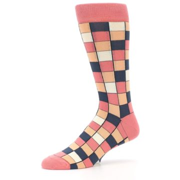 Image of Coral Peach Checkered Men's Dress Socks (side-2-10)