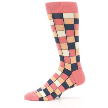 Image of Coral Peach Checkered Men's Dress Socks (side-2-11)