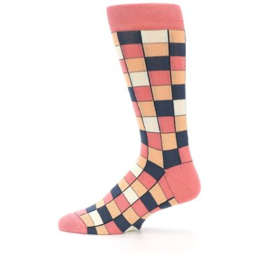 Image of Coral Peach Checkered Men's Dress Socks (side-2-12)