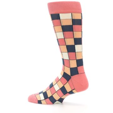 Image of Coral Peach Checkered Men's Dress Socks (side-2-13)