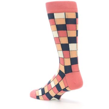 Image of Coral Peach Checkered Men's Dress Socks (side-2-back-14)