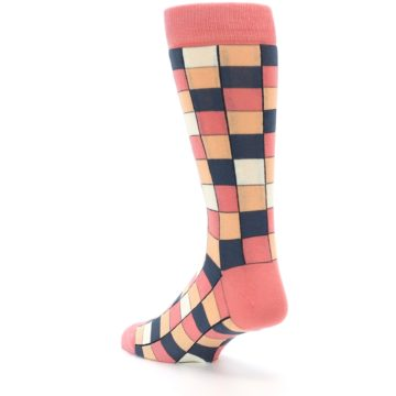 Image of Coral Peach Checkered Men's Dress Socks (side-2-back-15)