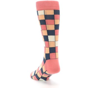 Image of Coral Peach Checkered Men's Dress Socks (side-2-back-16)