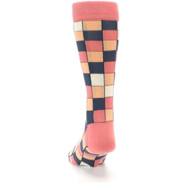 Image of Coral Peach Checkered Men's Dress Socks (back-17)